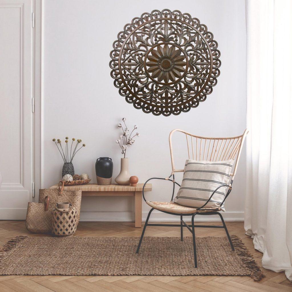 Houten mandala als muurdecoratie