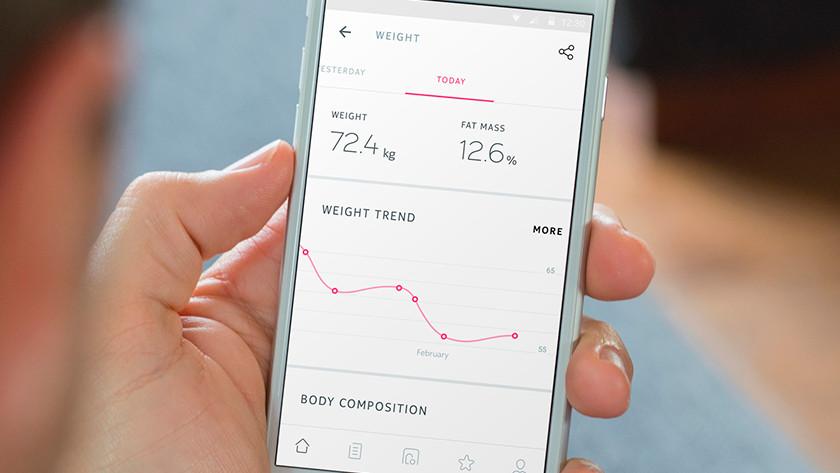 Lichaamsanalyse met app en weegschaal
